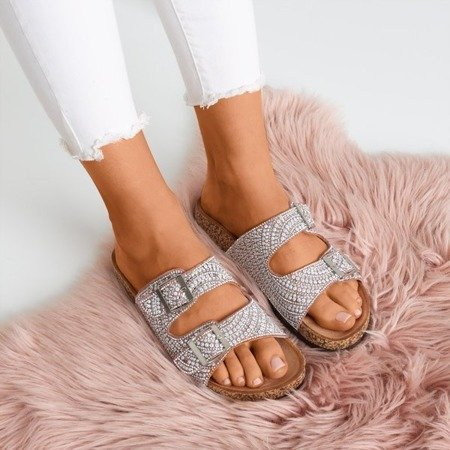 Pink and purple slippers with cubic zirconias Summer Star - Footwear