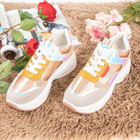 Pink - gold sport sneakers with colorful Lingi inserts - Footwear 1