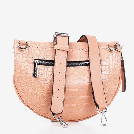 Pink small kidney bag with animal embossing - Handbags 1