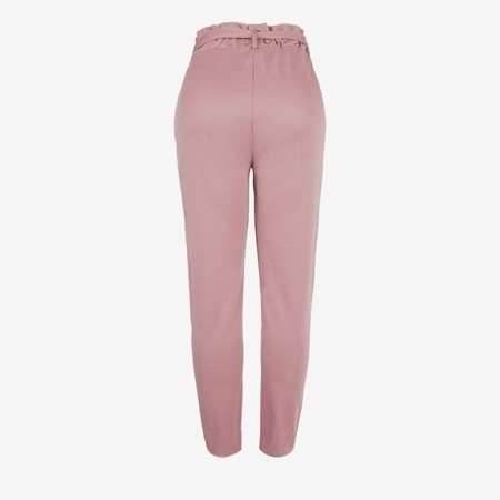 Pink women's high-waisted paperbag trousers - Pants 1