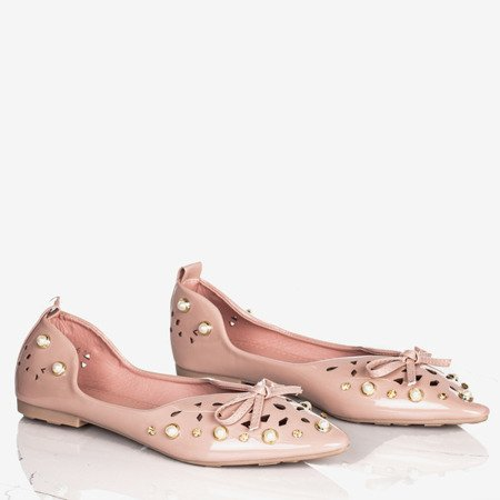 Pink women's ballerinas with Lil decorations - Footwear 1