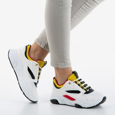 Punch Love White and Yellow Women's Sports Shoes - Footwear