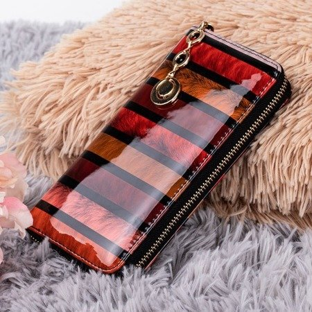 Red lacquered women's wallet with print - Wallet