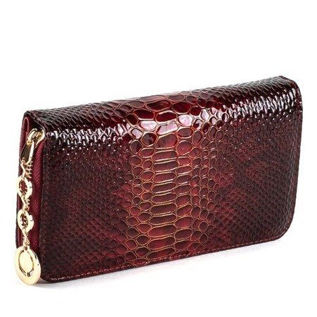 Red large wallet made of leatherette with quilted finish- Wallet 1