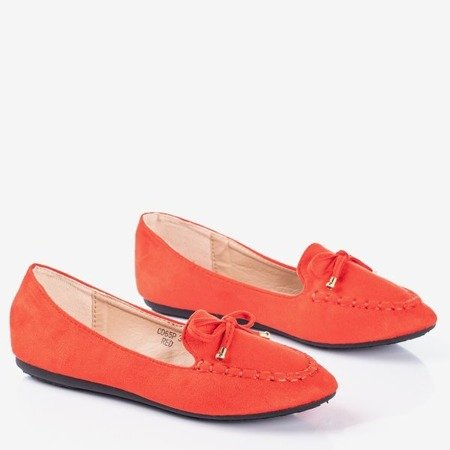 Red moccasins with Petronella bow - Footwear 1