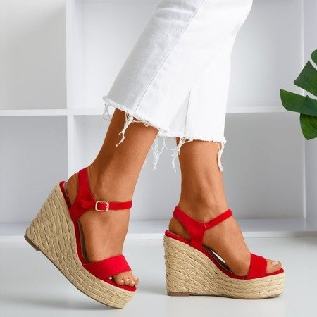 Red sandals on the wedge Idessa - Footwear 1