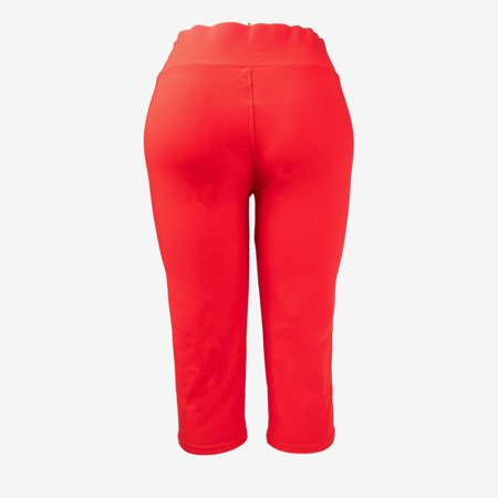 Red short leggings with buttons on the waist - Pants 1