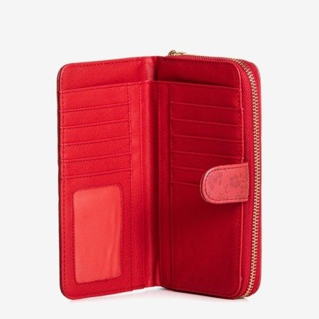 Red women's wallet with flowers - Wallet 1