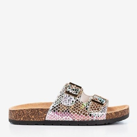 Silver snake slippers with buckles Summer Snake - Footwear