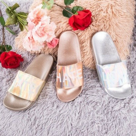 Silver women's slippers with the inscription HATE & LOVE - Footwear 1