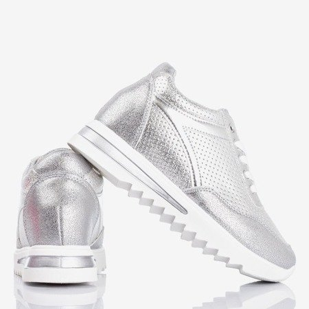Silver women's sneakers on an indoor wedge Wink Wink - Footwear 1