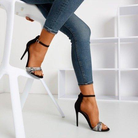 Snakeskin women's sandals on a high heel Gold Rush - Footwear 1