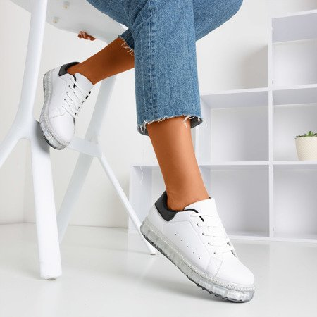 White and black sneakers on a platform with zircons Mauria - Footwear