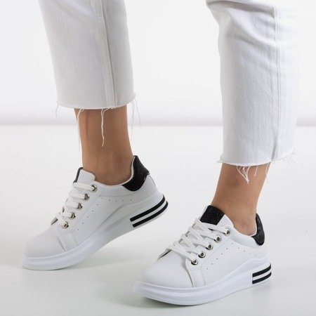 White and black sports sneakers with glitter inserts Solesca - Footwear