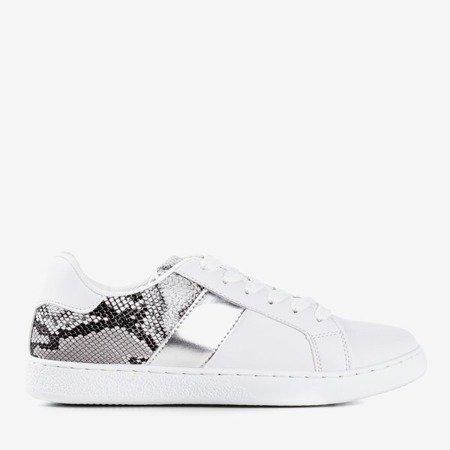 White and silver women's sneakers a'la Clastie snake skin - Footwear 1