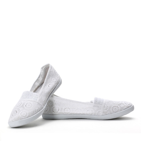 White ballerinas made of fabric - Footwear 1