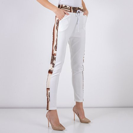 White patterned women's trousers - Clothing