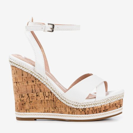 White sandals on a high wedge Erika- Shoes 1
