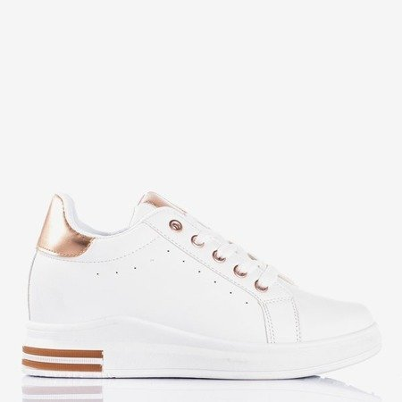 White sneakers with a wedge heel with pink inserts Sliomenea - Footwear