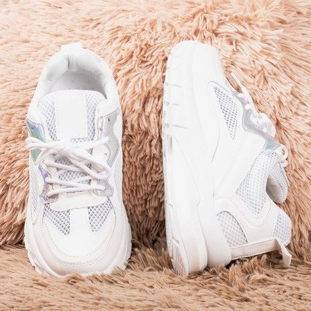 White sports sneakers with holographic Igalea inserts - Footwear 1