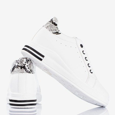 White trainers with a wedge heel with snake skin inserts Sliomena - Footwear
