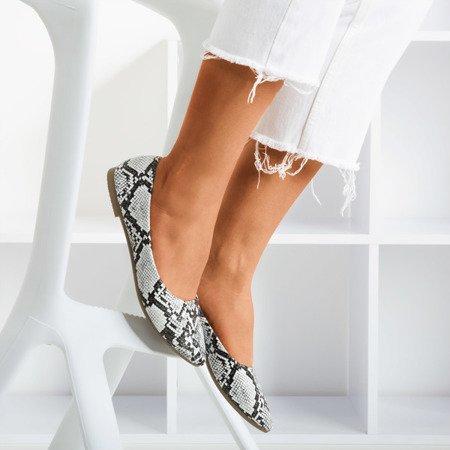 White women's ballerinas a'la snake skin Lilla - Footwear 1