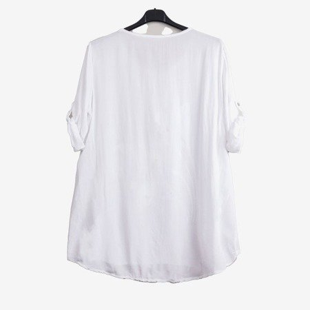 White women's tunic with print and inscriptions - Blouses 1