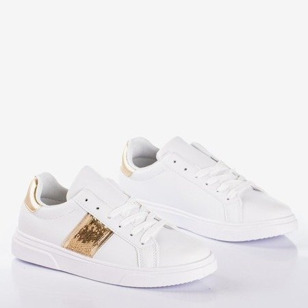 White women's sports sneakers with gold inserts Hypnos - Footwear 1