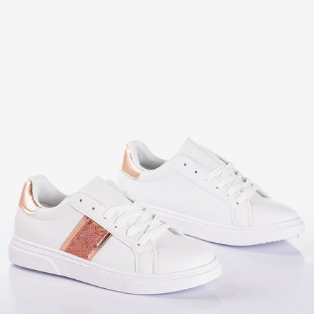 White women's sports sneakers with pink Hypnos inserts - Footwear 1