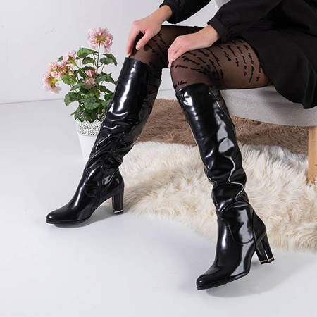 Women's black lacquered knee-high boots on the Lator post - Footwear