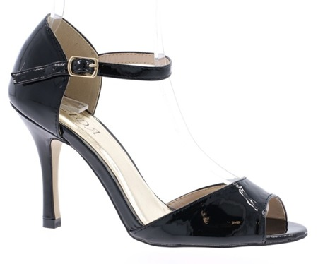 Women's black lacquered sandals on a Guisera heel - Footwear