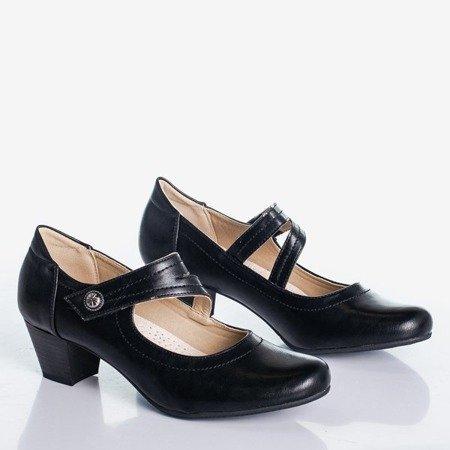 Women's black pumps on a low Romsska post - Footwear