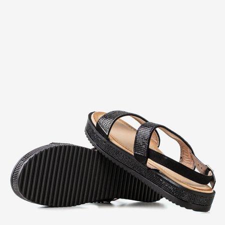 Women's black sandals with Arella cubic zirconia - Footwear