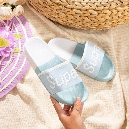 Women's blue slippers with Supera inscription - Footwear