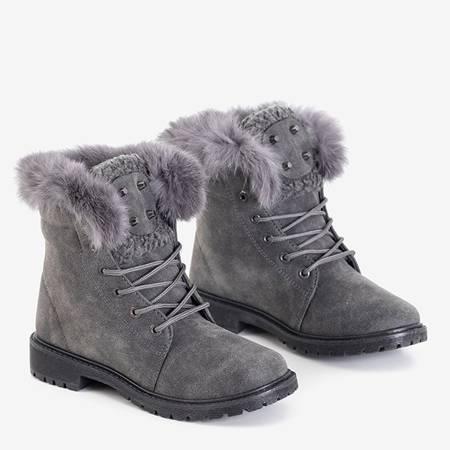 Women's dark gray boots with fur Zendalia - Footwear
