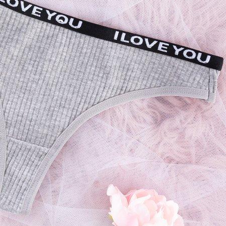 Women's gray cotton thong - Underwear