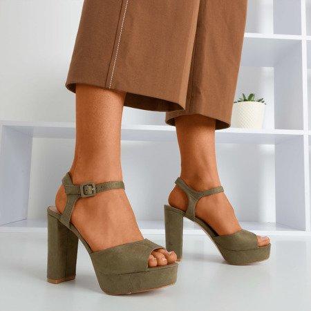 Women's khaki sandals on a higher post Silenae - Footwear