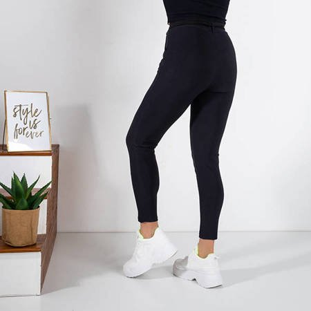 Women's navy blue fabric trousers with a tied belt - Trousers