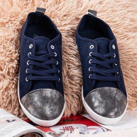 Women's navy sneakers with openwork Zinaida - Footwear