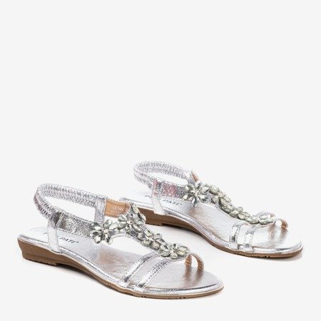 Women's silver sandals with Crisela crystals - Footwear