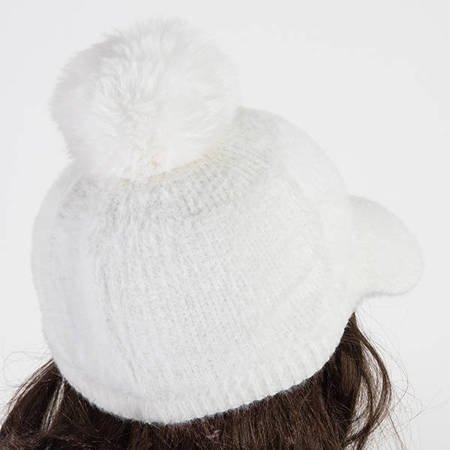 Women's white cap with a pompom - Caps
