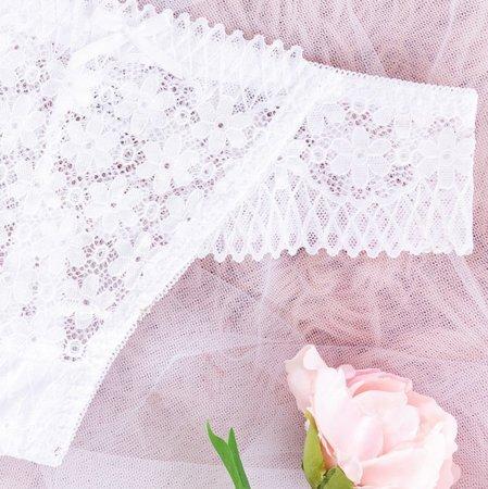 Women's white lace thong - Underwear