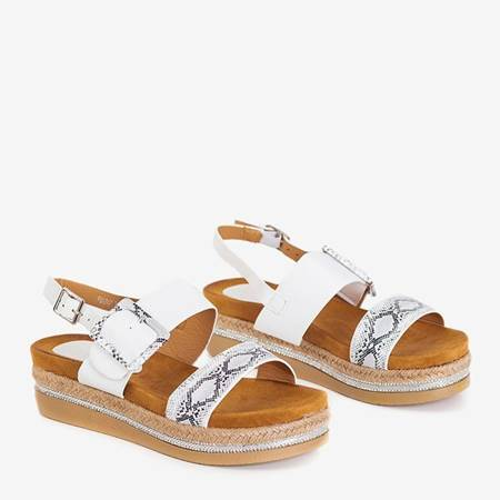 Women's white sandals on the Petunia platform - Footwear