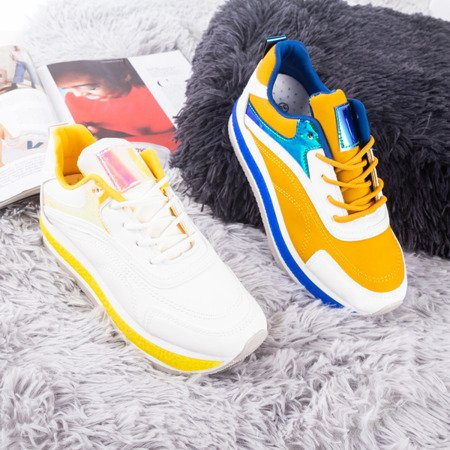Women's white sports shoes on a thick Savssia platform - Footwear