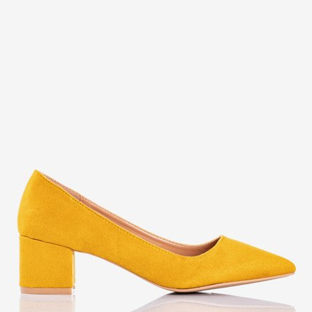 Yellow pumps on a low post Royale - Footwear