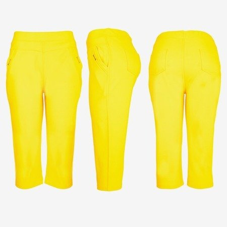 Yellow short leggings with a welt - Pants 1
