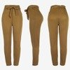 Brown women's high-waisted paperbag trousers - Pants 1