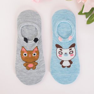 Gray and blue women's pet feet 2 / pack - Socks