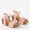 Wedge sandals with decorative Florestina flowers - Footwear 1