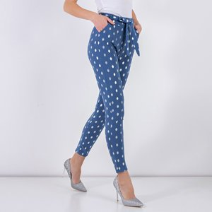 Women's blue pants with silver dots - Clothing